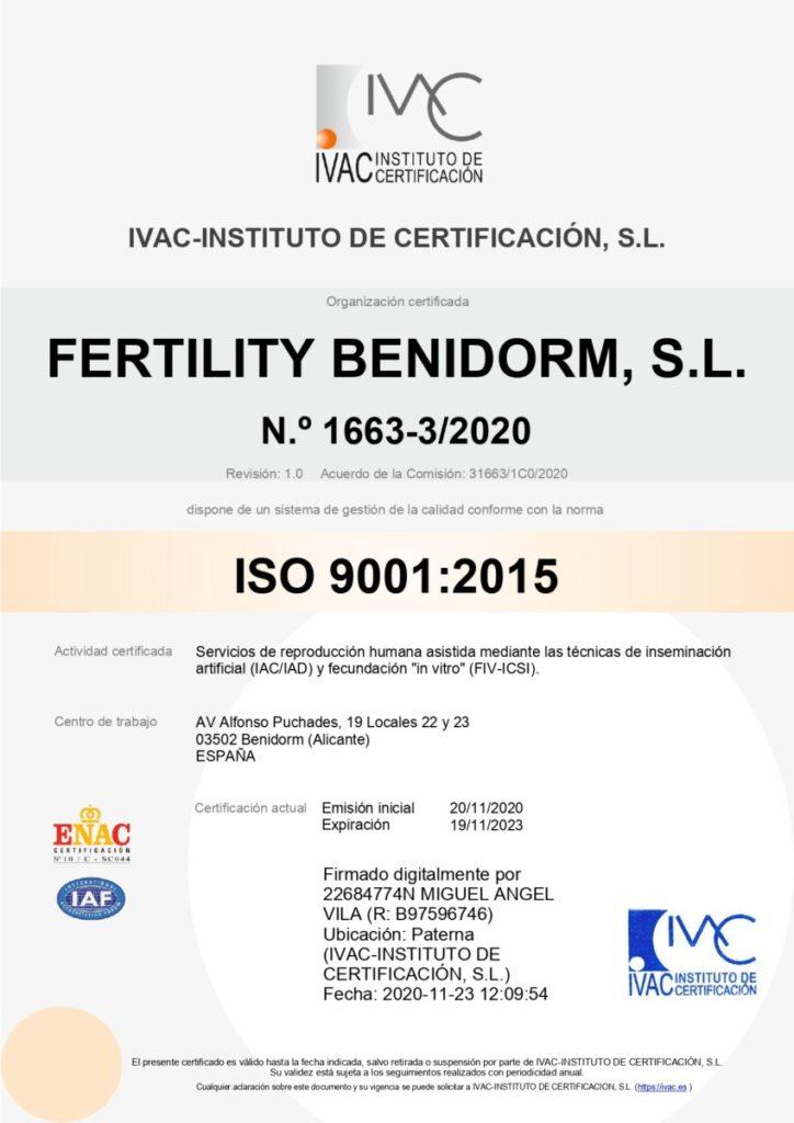 Fertility Benidorm Certificado de Calidad